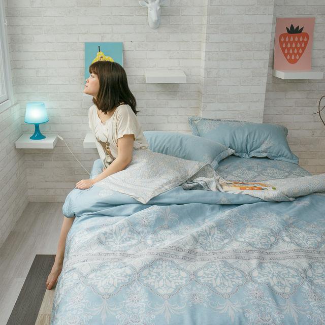 100%天絲床組 鋪棉床包兩用被組合 青色波斯王子【棉床本舖】