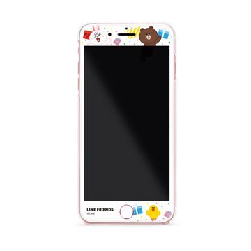 GARMMA LINE Friends iPhone 7/8 4.7吋 3D曲面珠光鋼化玻璃膜-禮物派對
