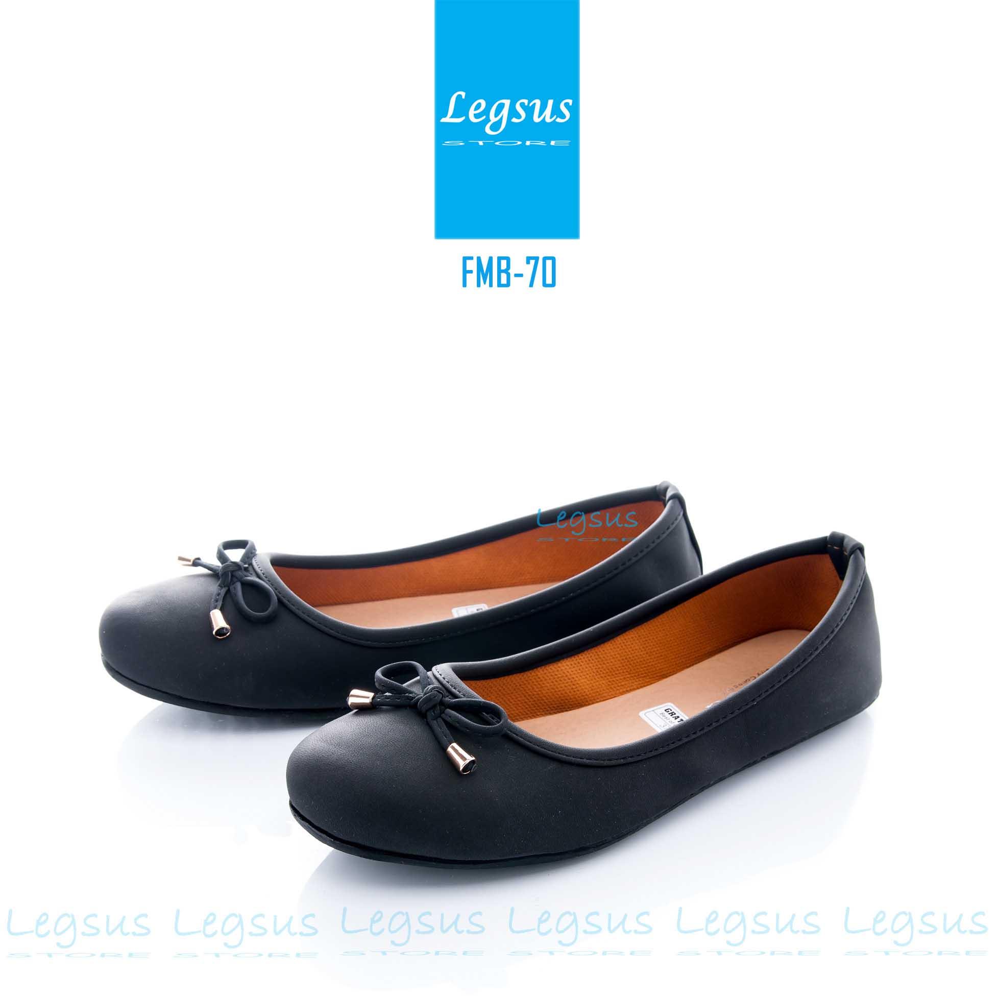 Sepatu Flat Shoes Wanita Hitam Sepatu Teplek Sepatu Simple FMB 70