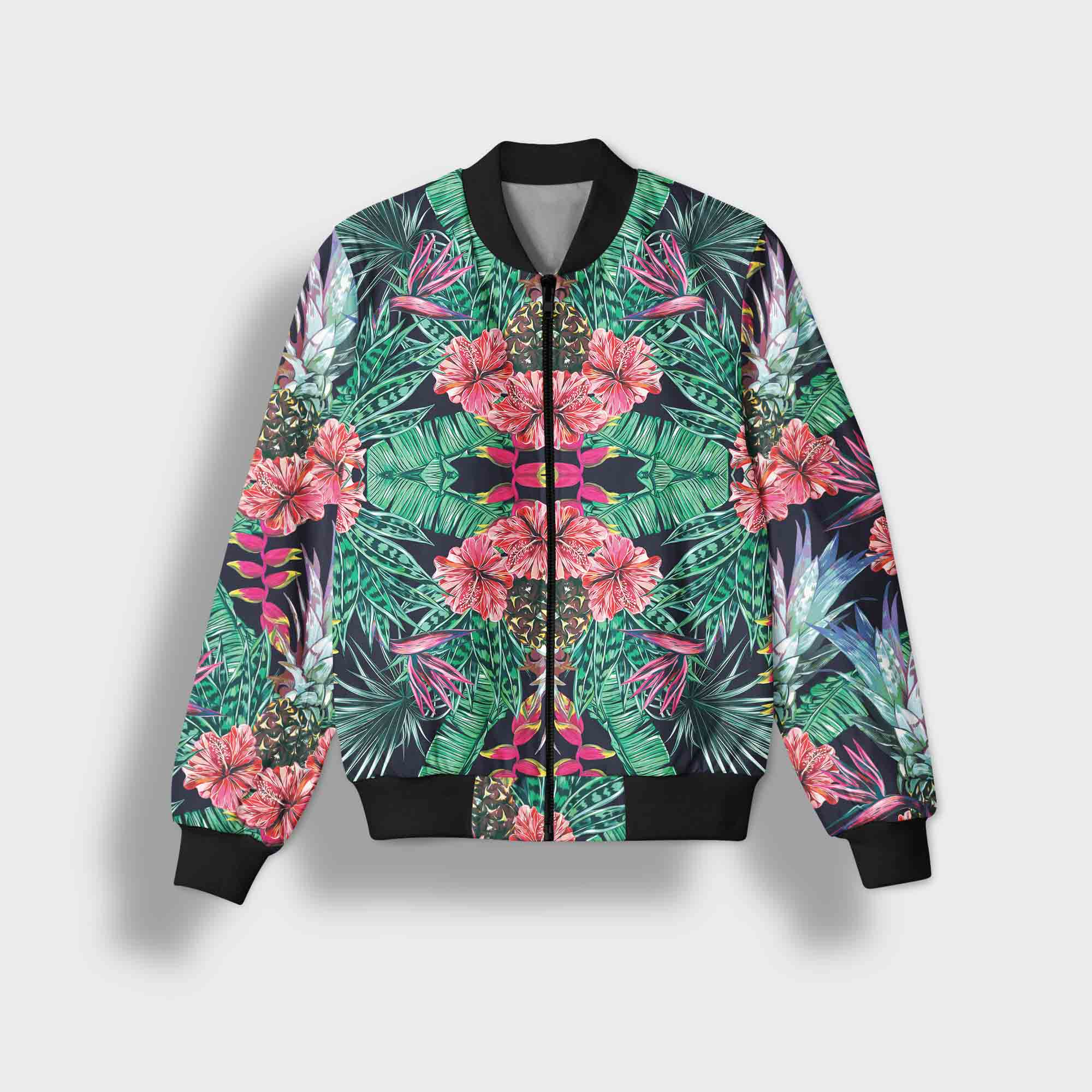 Supplycoid Shop Line Jaket Bomber Hitam Supply Eropa Fashion Style Two Wanita Pria Hijau Putih Flower
