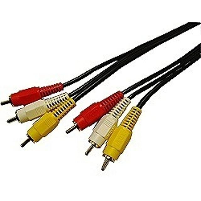 フジパーツ 1mピンプラグケーブル(ピンプラグ+ステレオ音声⇔ピンプラグ+ステレオ音声) FVC-123A