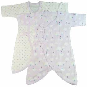 ベビーザらス限定 2P新生児コンビ肌着 フライス(雲・ドット×パープル/50-70cm)