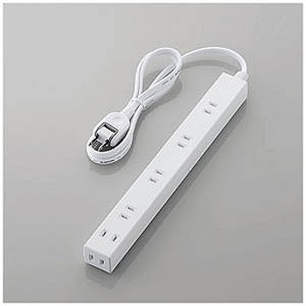 エレコム ELECOM ほこり防止シャッター付きスリム電源タップ(幅広・2ピン式・6個口・1.0m) T-NSL-2610WH (ホワイト)