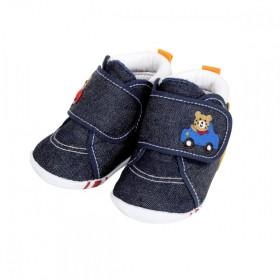 【ホットビスケッツ】ベビーシューズ(靴底3本ライン)12cm(インディゴブルー)【送料無料】