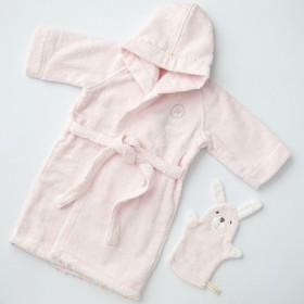 [ベベ]バスローブ&バスミトンセット(ピンク) 出産のお祝い