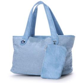 サボイ SAVOY デニム地に幾何学柄をプリントしたバッグ (ブルー)