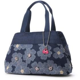 サボイ SAVOY デニム地に花柄を合わせたバッグ (ブルー)