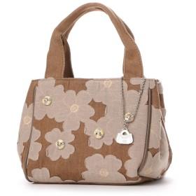 サボイ SAVOY デニム地に花柄を合わせたバッグ (ブラウン)