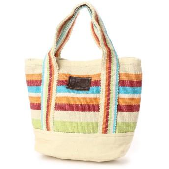 【チャイハネ】ボーダー織りミニトートバッグ ホワイト