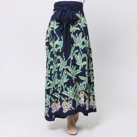 【Kahiko】バナナリーフ&フラガールサッシュスカート / ワンピース ネイビー