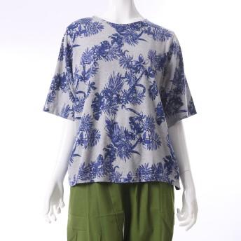 【チャイハネ】ボタニカル柄Tシャツ グレー