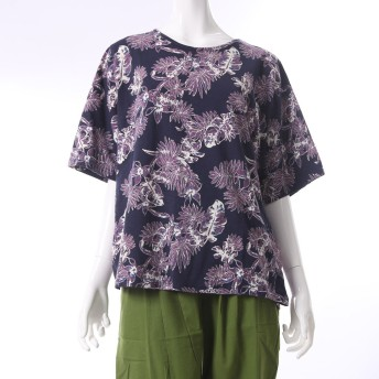 【チャイハネ】ボタニカル柄Tシャツ ネイビー
