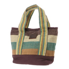 【チャイハネ】ボーダー織りミニトートバッグ グリーン