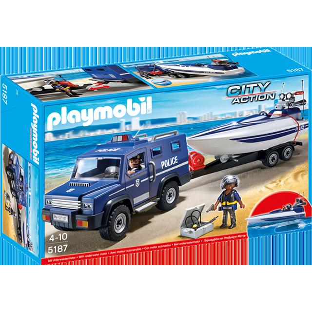 Playmobil 摩比 5187 警察拖車與快艇