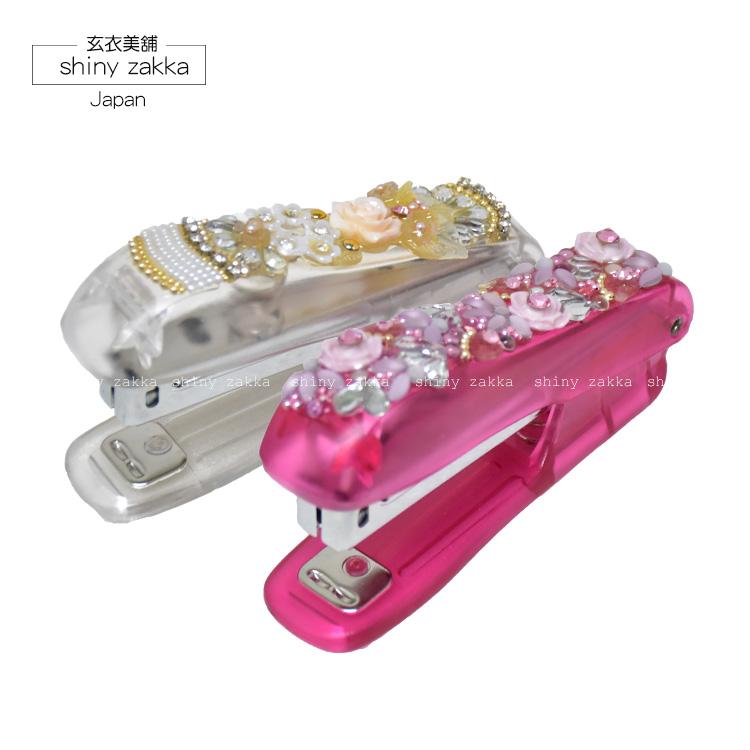 釘書機-日本 氣質精緻 玫瑰水鑽釘書機-白/粉-玄衣美舖