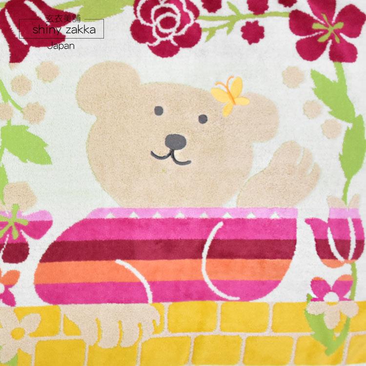 日本毛巾-彩虹熊小浴巾/純棉蓋被-橫扶桑花/粉.淺綠.湖綠-玄衣美舖