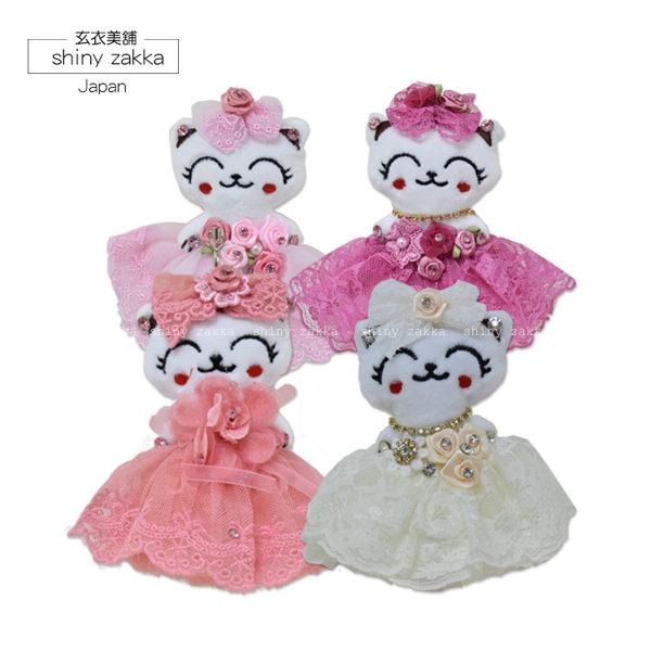 笑臉貓咪玩偶蕾絲婚禮吊飾-日本帶回【玄衣美舖】