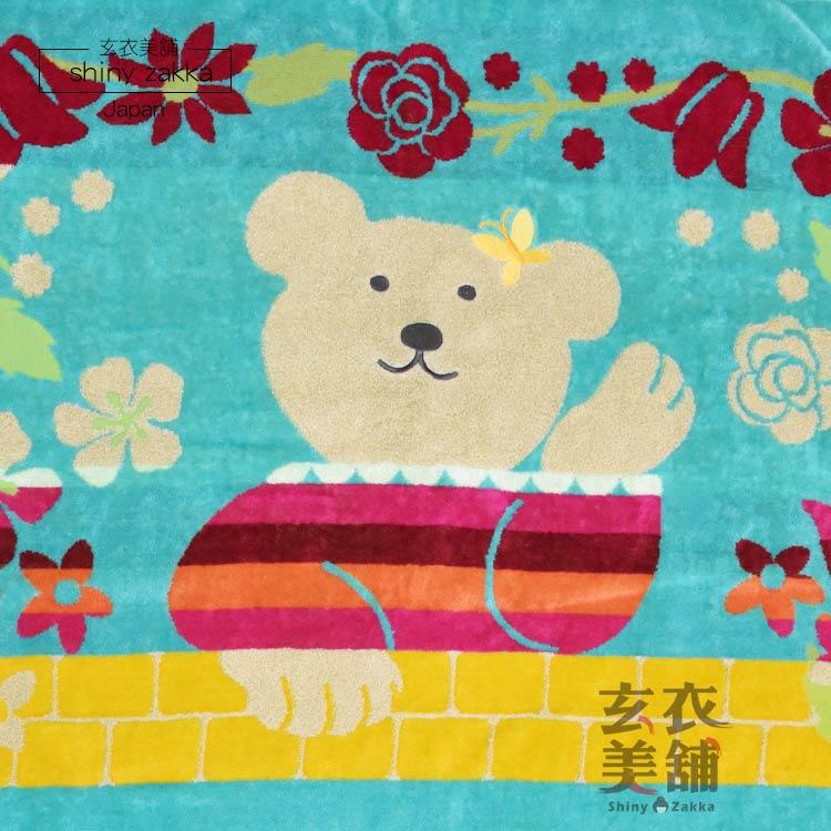 日本毛巾-彩虹熊大浴巾/純棉蓋被-直扶桑花/粉.淺綠.湖綠-玄衣美舖
