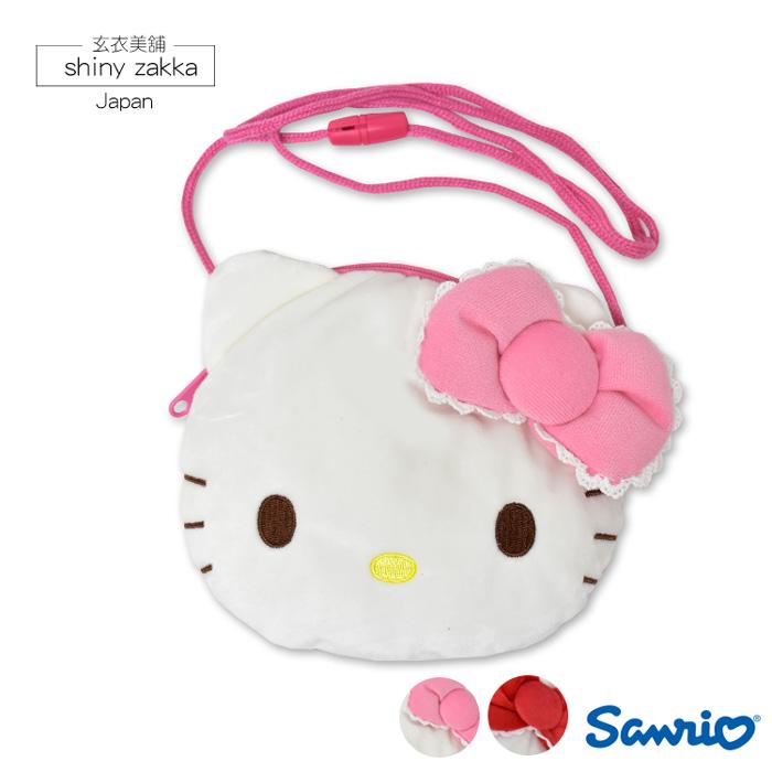 兒童斜背包-日本Sanrio三麗鷗Kitty毛絨斜背包-兩色-玄衣美舖