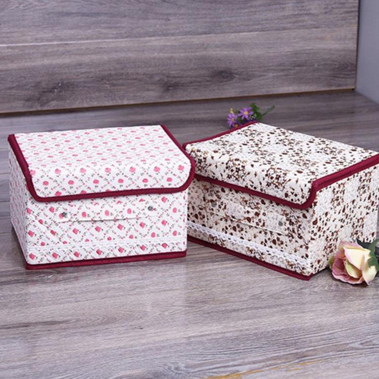 收納箱【BNA053】花朵棉布蕾絲收納盒(8L)衣物收納箱 小物收納箱 文具收納箱 仿麻布收納箱-收納女王