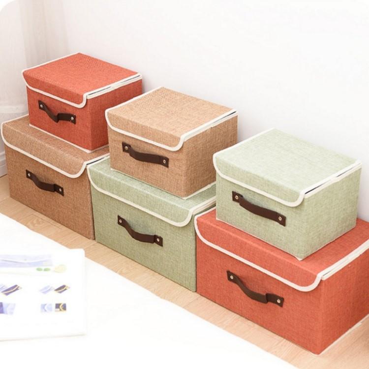 收納箱 【BNA035】高檔亞麻布質收納整理箱(9L)  文具 收納箱 防潮 防塵 衣物收納 收納女王