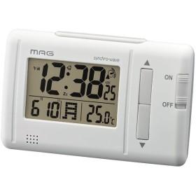 ノア精密 T-692WH-Z ホワイト MAG ファルツ [デジタル電波時計(カレンダー/温度)] 目覚まし時計