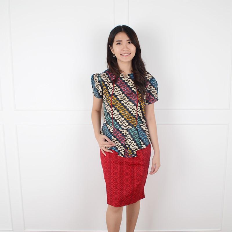 De Voile Dress Batik Wanita Jumbo sv Izakar UP (Red) 100089056a