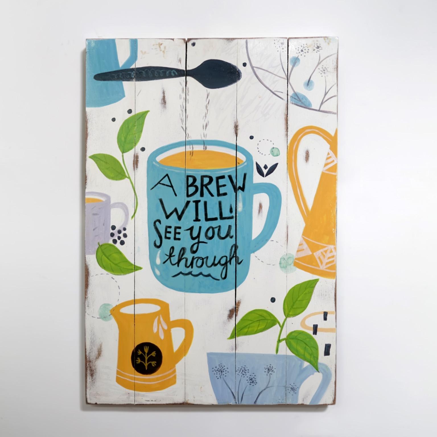 A Brew Will See You Through ~ Poster Kayu Vintage untuk Hiasan Dinding 5f1baeca2a