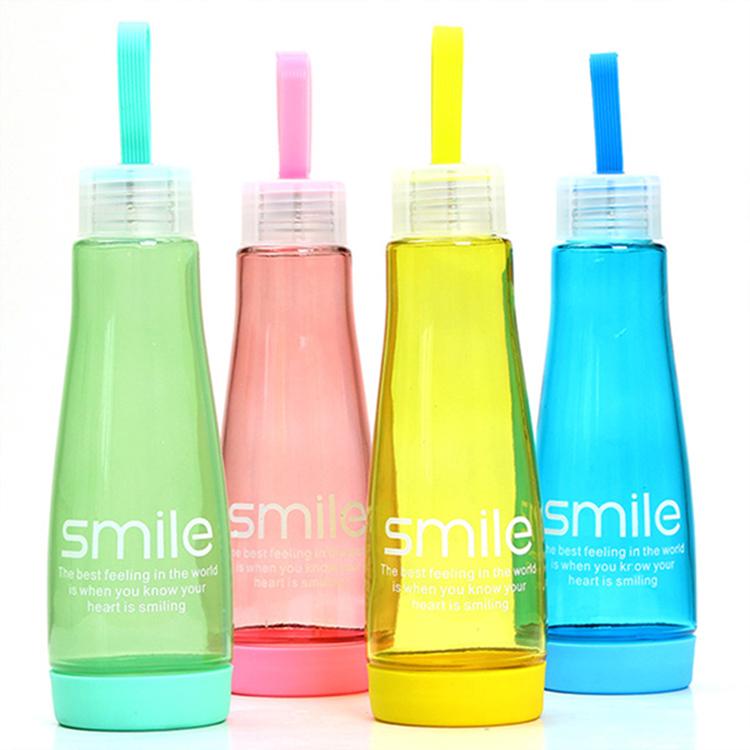水杯【KCG045】Smile手提炫彩玻璃杯450ml水瓶 瓶子 水杯 隨行杯 水壺 水杯 玻璃杯