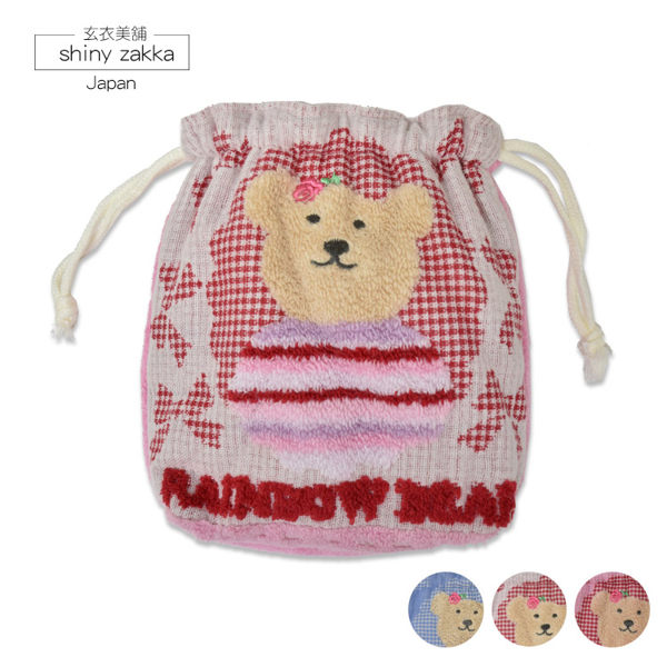 束口袋-彩虹熊毛巾布小束口包-蝴蝶結紗面/紅.粉.藍-玄衣美舖