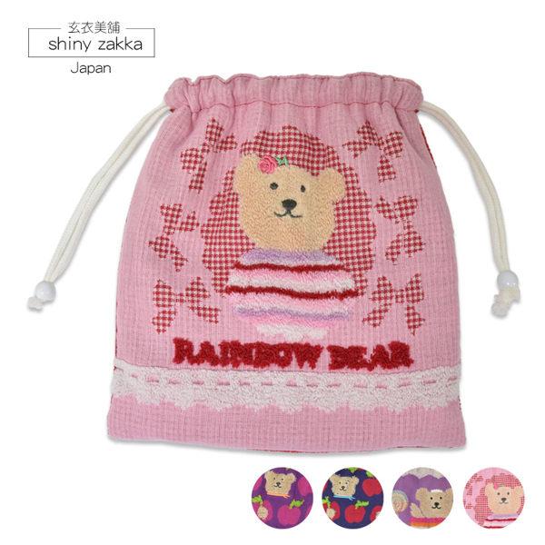 束口袋-彩虹熊毛巾布中束口包-蝴蝶結紗面/粉-玄衣美舖