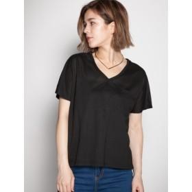 LocoChica ポケット付き両VネックドルマンTシャツ / ブラック / M (ロコチーカ)