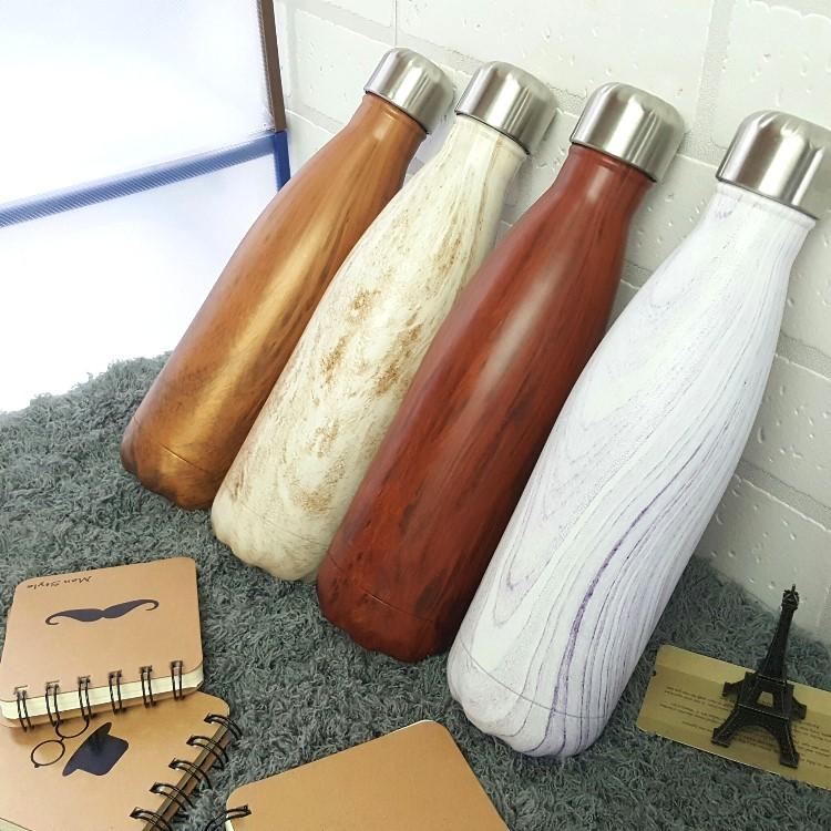 保溫瓶【KCW055】韓國流行木紋真空保溫瓶480ml 大容量 真空不鏽鋼 保溫/保冷瓶  對杯 水瓶-收納女王