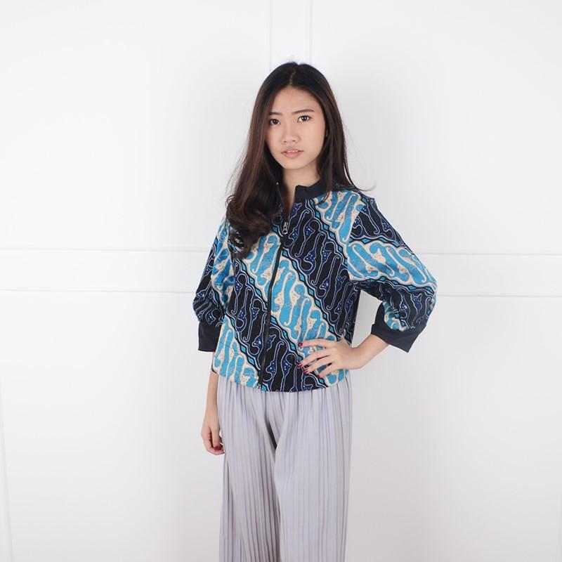 De Voile Atasan Batik Wanita Dignity zip LGOT (Blue) 1d39072ab1