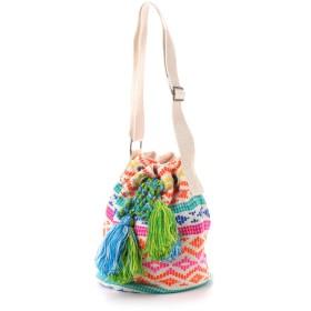 【チャイハネ】カラフル織り巾着バッグ オレンジ