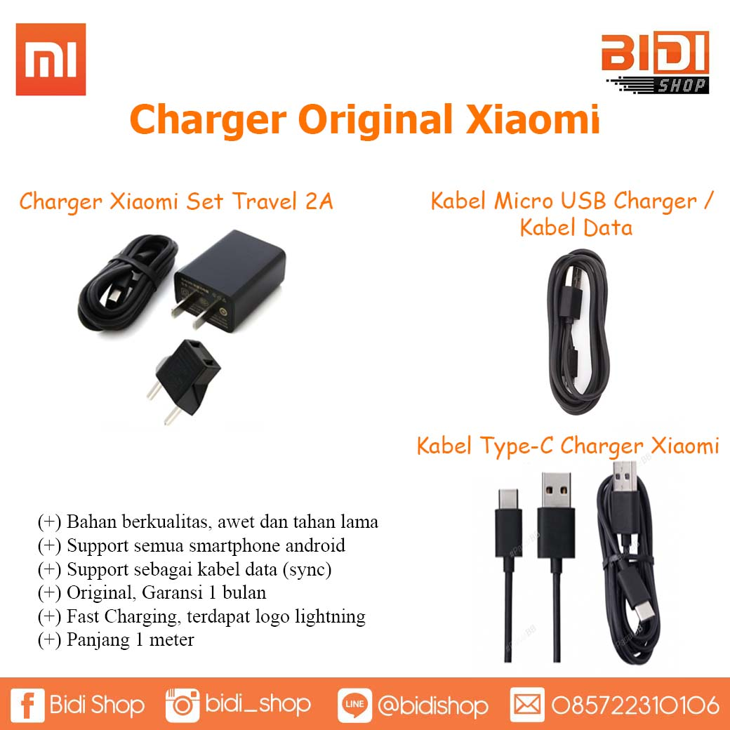 Bidi Shop Line Charger Xiaomi 2a Original Kabel