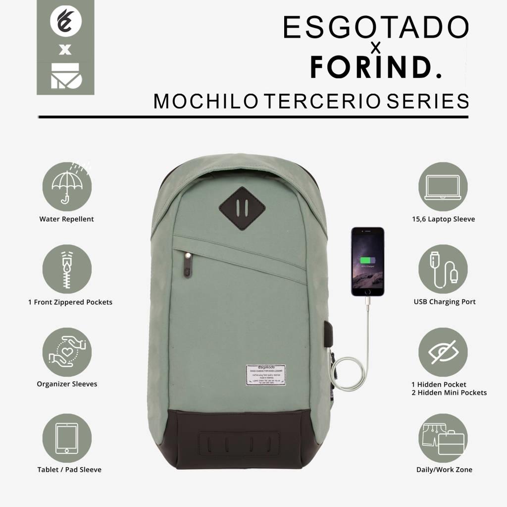MOCHILO TERCERIO GREEN ECO | FORIND x Esgotado | Tas Ransel Charger Anti Maling Air Pria Wanita
