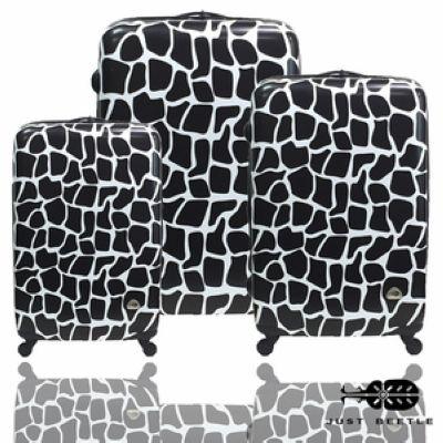 ✈Just Beetle動物樂園系列之長頸鹿紋PC亮面超值三件組旅行箱/行李箱