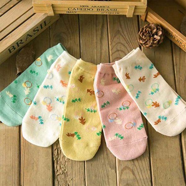 襪子【FSW064】可愛小魚圖案女短襪 隱形襪 短襪 螢光色 氣墊襪 純棉 毛巾襪 船型襪 男女襪 學生襪-收納女王