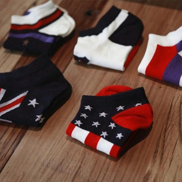 襪子【FSM022】國旗風時尚船型男襪 短襪 運動襪 條紋襪 氣墊襪 純棉 毛巾襪 船型襪 男女襪 學生襪-收納女王