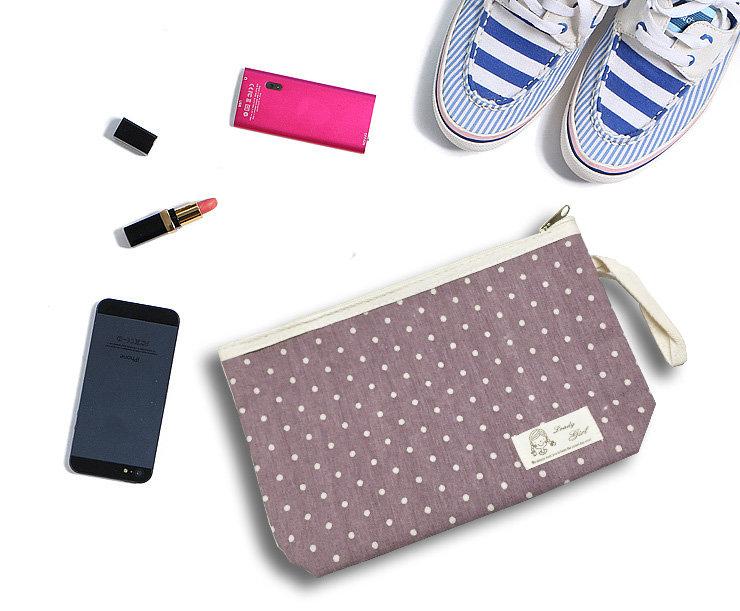 包包【HPN011】韓系可愛點點化妝包   隨身包 購物包 零錢包 手提包 化妝包 收納女王