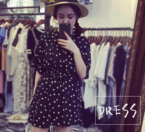 洋裝【TLS012】點點洋裝當季新品 連身裙 短裙 牛仔裙 A字裙 修身顥瘦 收納女王