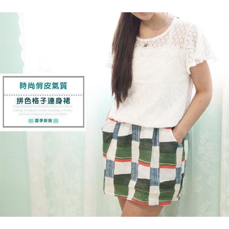 連身裙【TLS002】拼色格子連身裙(有內裡)蕾絲結合棉麻材質-收納女王
