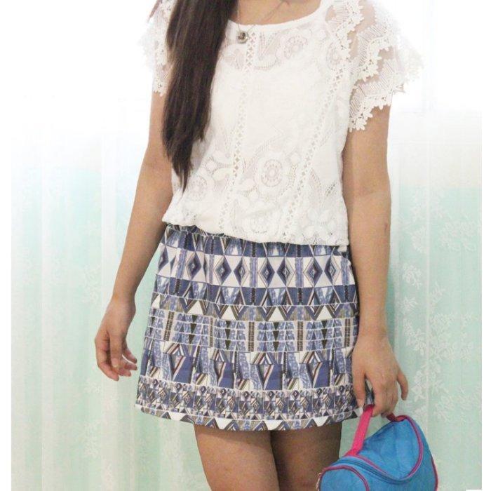 連身裙【TLS001 】幾何圖案連身裙 性感蕾絲+棉麻裙身