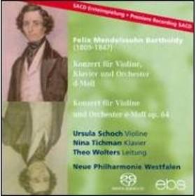 メンデルスゾーン(1809-1847)/Violin Concerto For Violin & Piano: Schoch(Vn) Tichman(P) Wolters / Neue Philha
