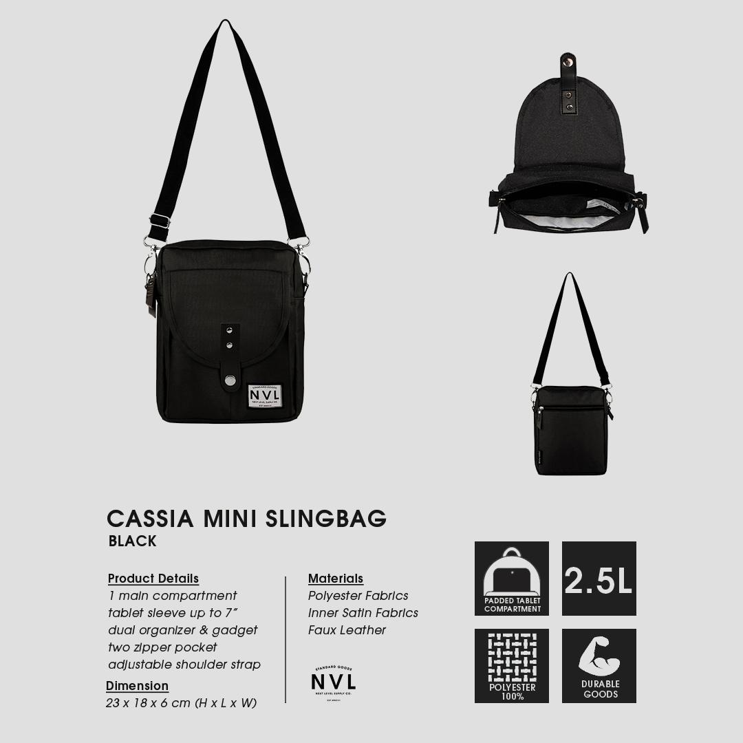 Nvl Supply Co Shop Line Hand Bag Tas Organizer Tangan Pria Wanita Selempang Cassia Black Mini Slingbag