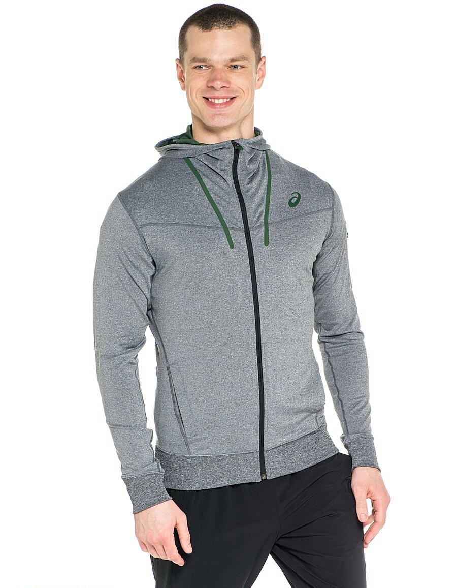Asics Original FZ Hoodie Men Jaket Hoodie Pria Abu Jaket Lari Running Jacket Gym Tennis Fitness