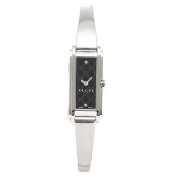 【送料無料】グッチ 時計 レディース GUCCI G-LINE Gライン 2Pダイヤモンド バングルウォッチ ブラック/シルバー