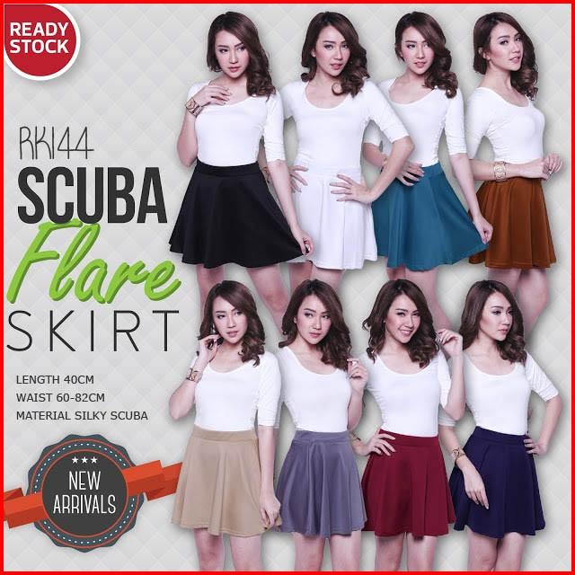 HK71  Silky Scuba Mini Flare Skirt Rok Wanita (RK144): Rp 195.000 Rp