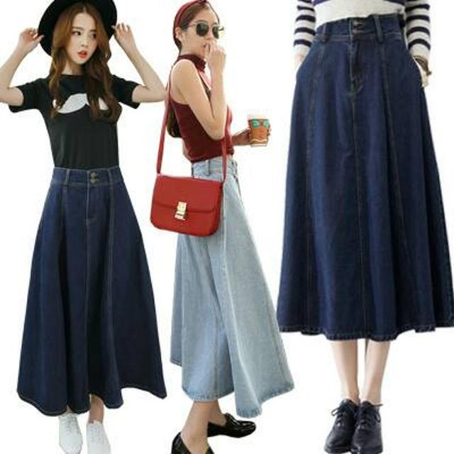 HK9  Circle Pocket Denim Flare Skirt(#6065)/Rok jeans wanita/